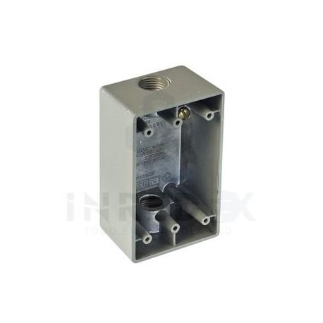 "Caja Condulet FS de 1/2"" ( 12.7 mm) con dos bocas a prueba de intemperie."
